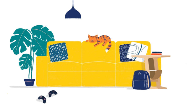 Cat sleeping on a yellow sofa covered in cushions, with a bag, a plant and a side table surrounding it