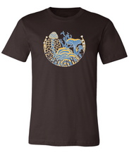 Load image into Gallery viewer, Fungal Abundance T-Shirt - Chocolate, Goldenrod, Sky Blue