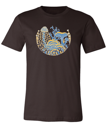 Fungal Abundance T-Shirt - Chocolate, Goldenrod, Sky Blue
