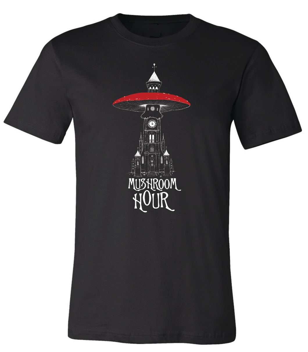 Mushroom Clocktower T-Shirt - Black, White & Red