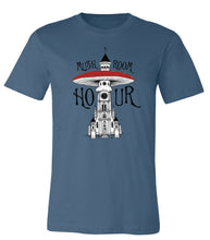 Load image into Gallery viewer, Mushroom Clocktower T-Shirt - Steel Blue, White, Black & Red