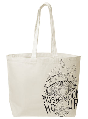 Mushroom Hourglass Canvas Tote - Black