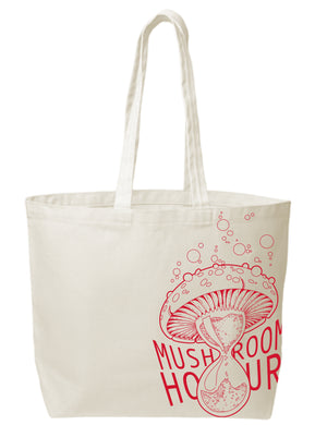 Mushroom Hourglass Canvas Tote - Red