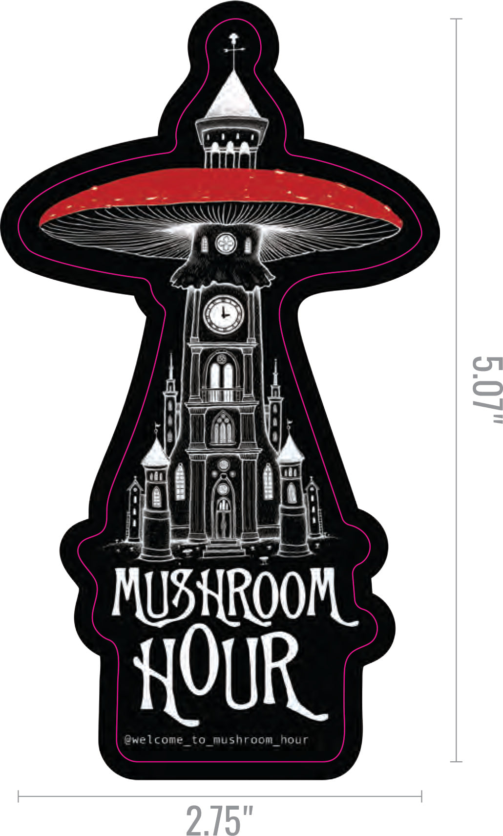 Mushroom Clocktower Stickers - Black