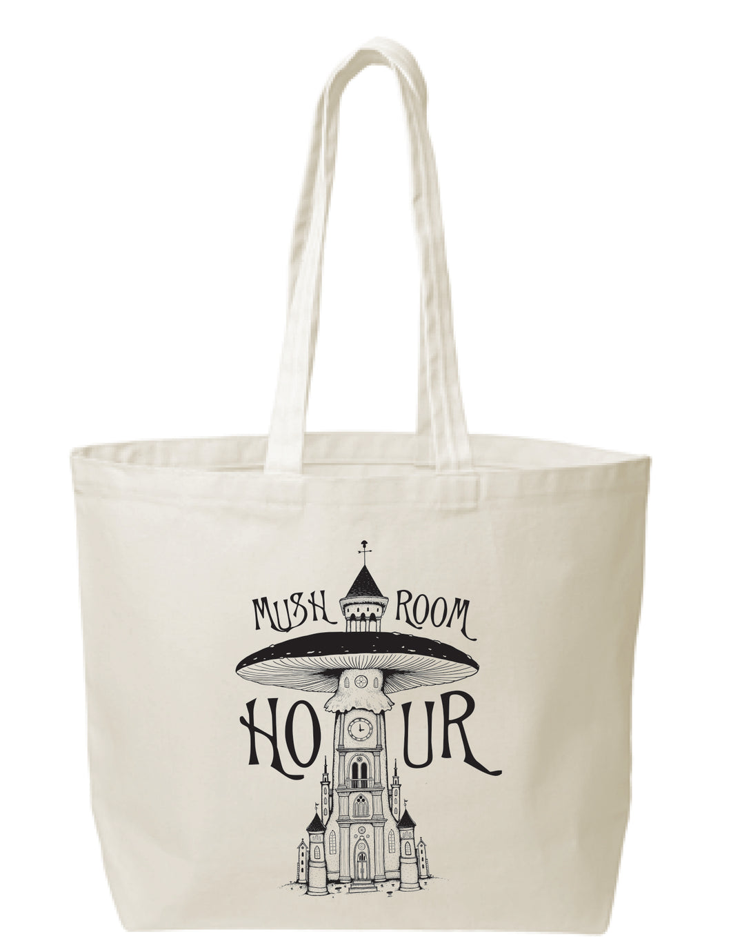 Mushroom Clocktower Canvas Tote - Black