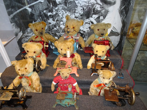 (1) A group of Teddies with their new sewing machines and spinning wheel!