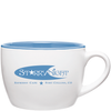 18oz Matte White and Sky Blue Bolzano Ceramic Mug with Logo