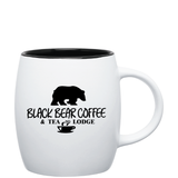 14oz Matte White & Black Ceramic Joe Mug with Logo