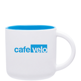 14oz Matte White & Sky Blue Minolo Ceramic Coffee Mug with Logo