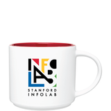 16oz Matte White and Red Monaco Ceramic Mug with Logo