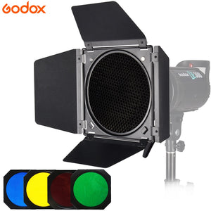 Godox BD-04 Barn Door+Honeycomb Grid + 4 Color Filters - FREE SHIPPING