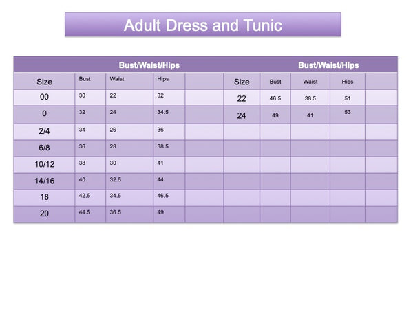 Adult Dress and Tunic size chart