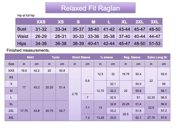Adult Relaxed Fit Raglan Size Chart
