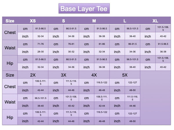 Adult Base Layer Tee Size Chart