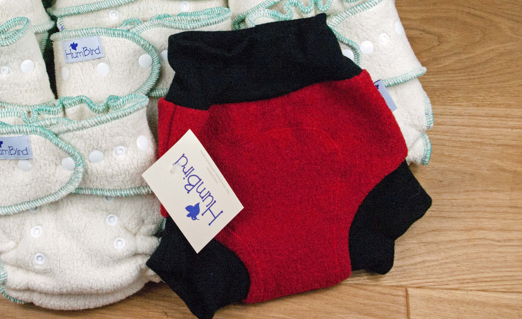SL F2 Diaper Cover Red Boiled wool