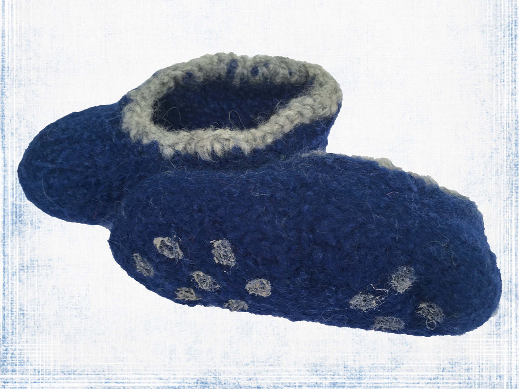 Navy Blue + Light gray slipper 14 cm