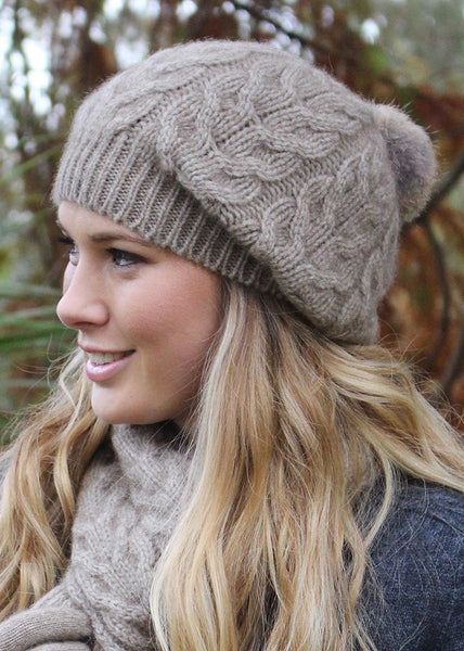 Lothlorian Possum Cable Beanie with Pom Pom </p>(5 colours)