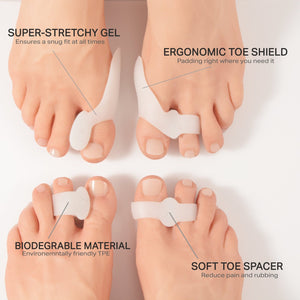 2Pcs Big Toe Straightener Thumb Valgus Protector Silicone Gel foot fingers Two Hole Toe Separator Bunion Adjuster Feet Massager