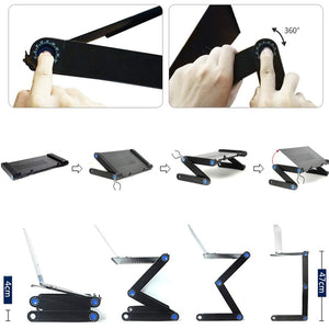 Adjustable Aluminum Portable Laptop Desk Foldable Vertical Table Laptop Desk with Mouse Board Computer Desk Bookshelf
