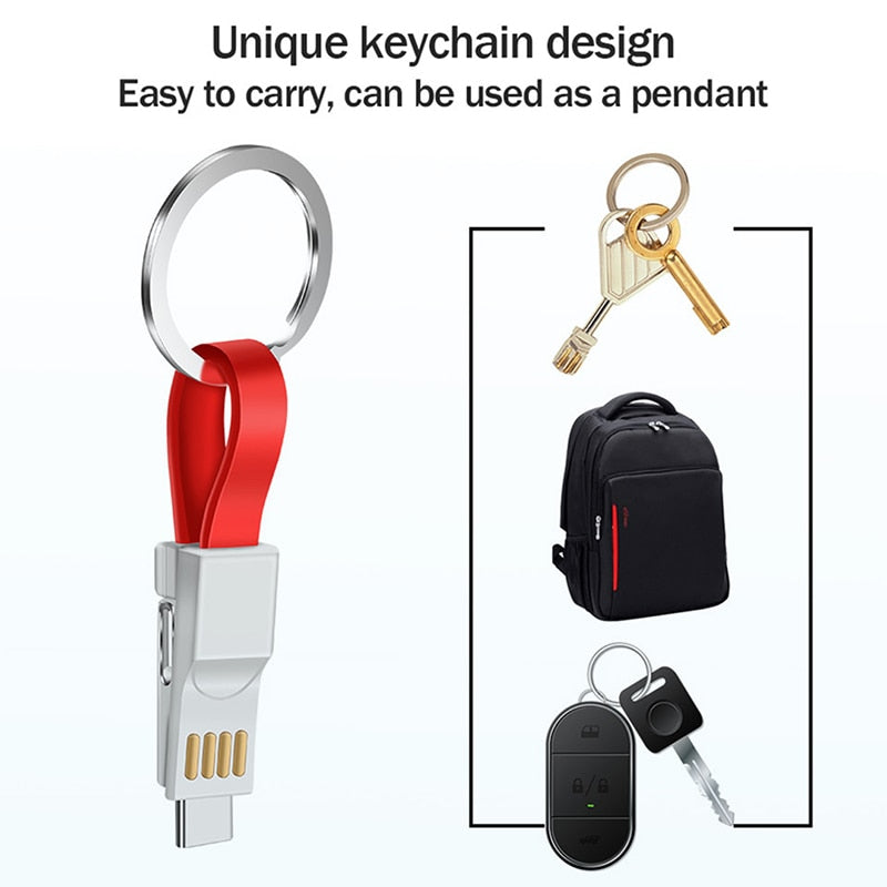 Mini Keychain Lanyard Charger Cable For iPhone X XR XS Max 6 6S 7 8 Plus 5 iPad Short Fast Charging Key chain Data USB Wire Cord