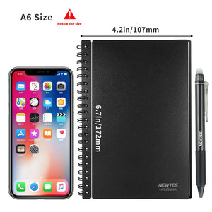NEWYES A6 size Smart Reusable Erasable Notebook Microwave Wave Cloud Erase Notepad Note Pad Lined With Pen save paper