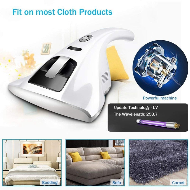 Portable Anti-Dust Mites Uv Vacuum Cleaner,Household Handheld Uv Vacuum Cleaner,Anti-Bacterial (Eu Plug)