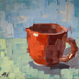 "Coffee Mug Painting, Still Life in Oil, ""Red Cup"""