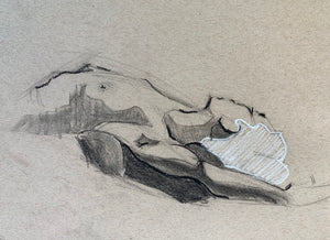 "Charcoal Figure Drawing Nude, ""Repose"""