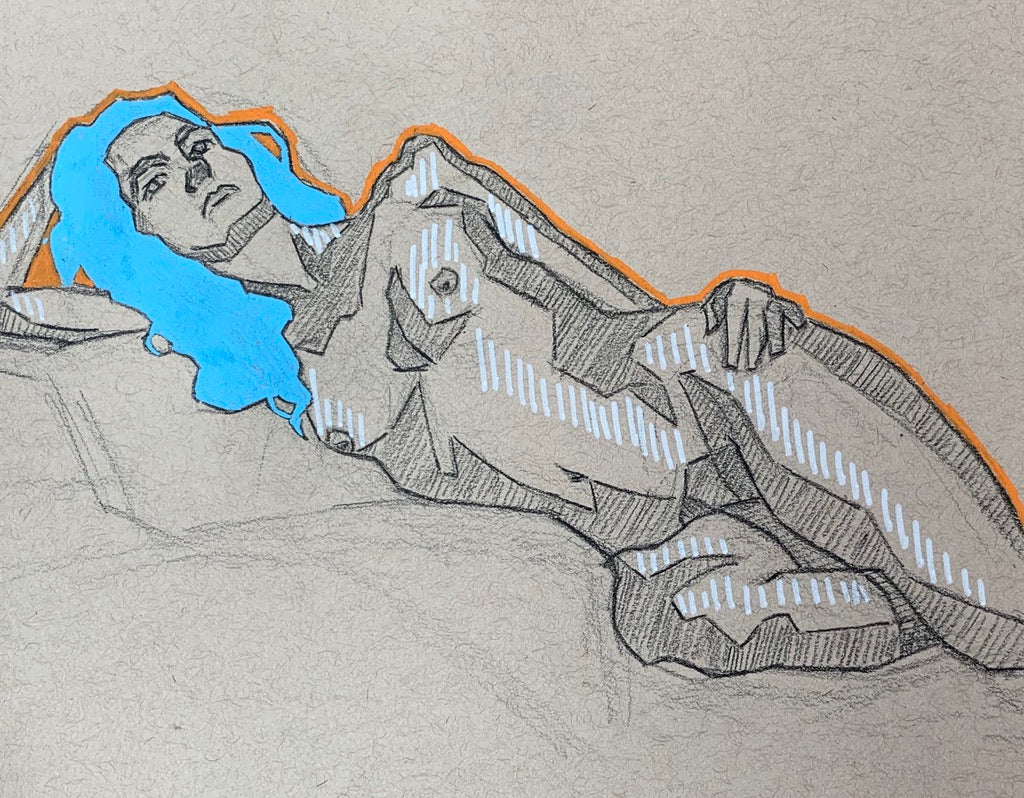 "Stylized Figure Drawing Nude, Pencil and Posca Pen, ""Opaque"""
