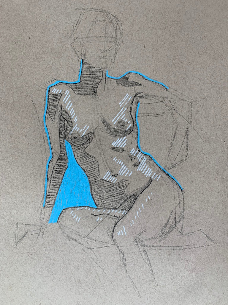 "Stylized Figure Drawing Nude, Pencil and Posca Pen, ""Ever Unfinished"""