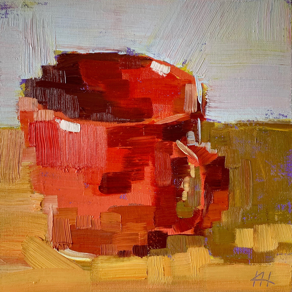 "Coffee Mug Painting, Still Life in Oil, ""Big Red"""