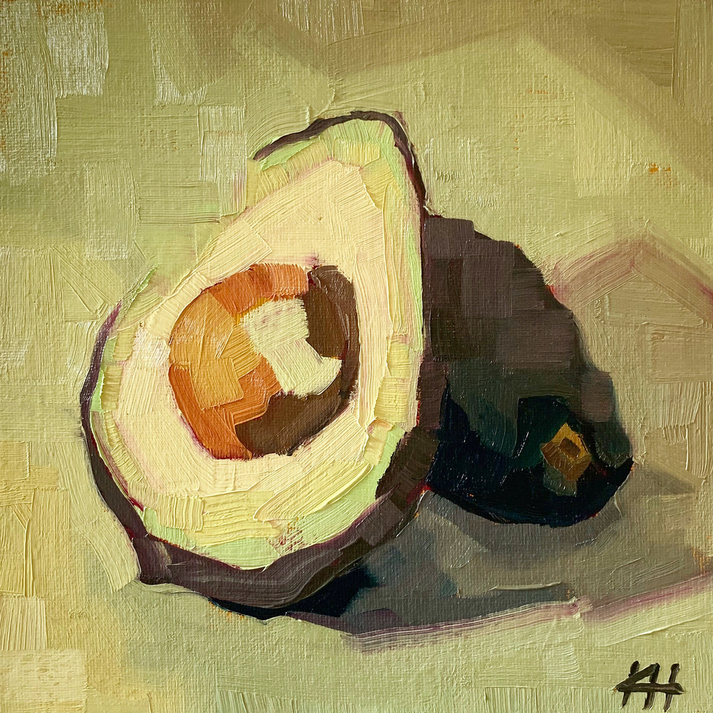 "Vegetable Painting, Avocado Still Life in Oil, ""Hipstersbane"""