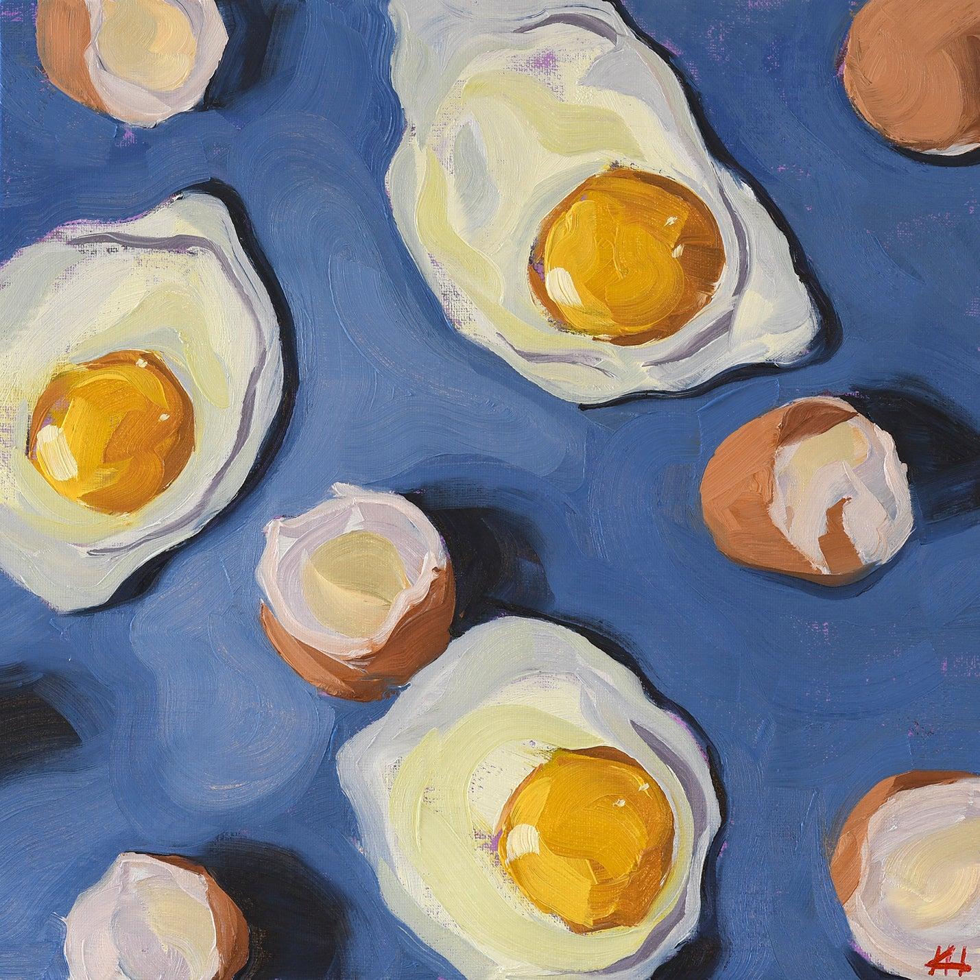 """I've Finally Cracked"", Egg and Eggshell Kitchen Oil Painting"