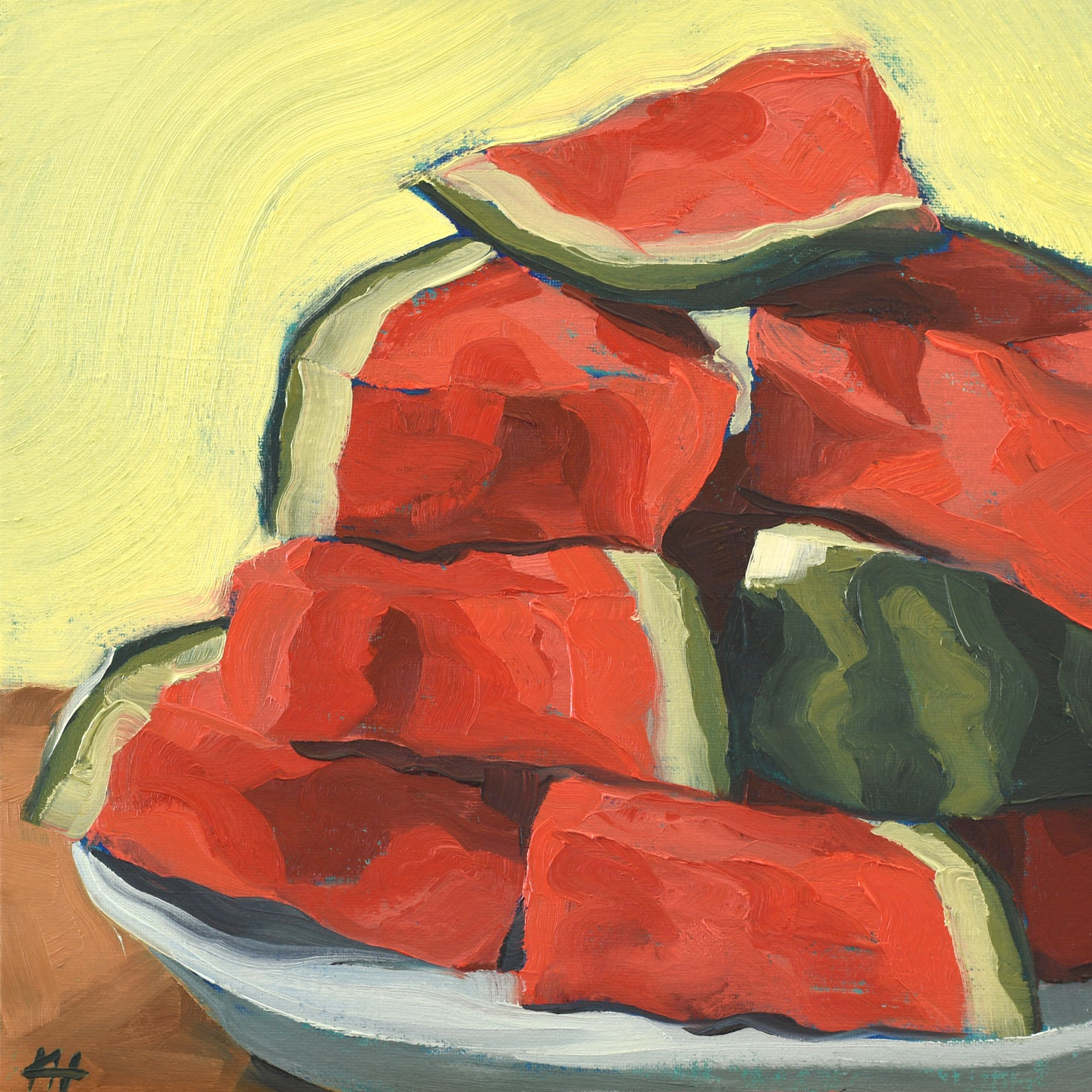 """Watermelon Pyramid"", Wall Hangings for Living Room, Oil Painting Wall Art"