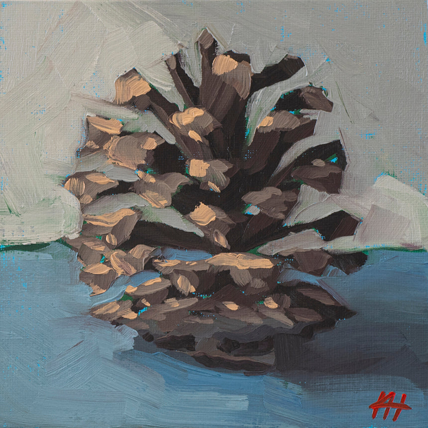 """Baby Pinecone"", Holiday Oil Painting"