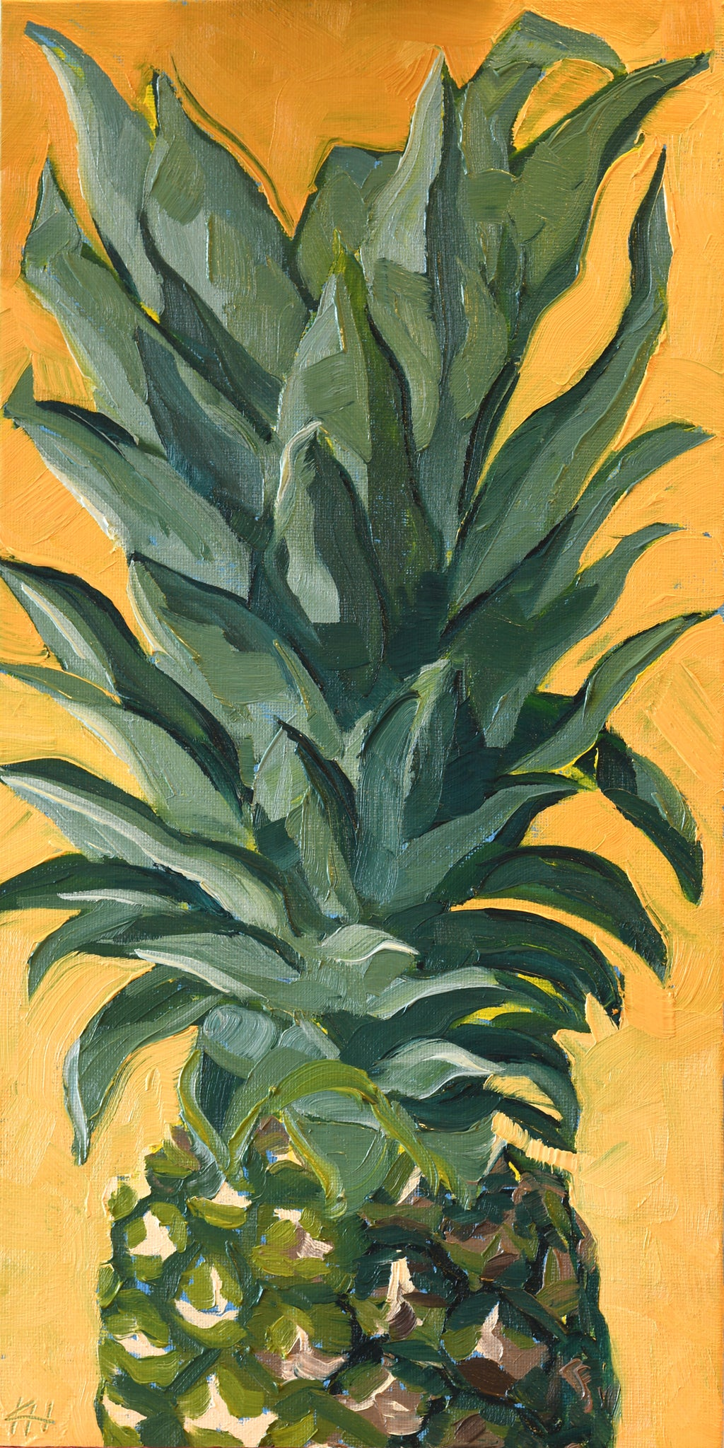 """Pineapple Peekaboo"", Wall Art For Living Room, Modern Painting"