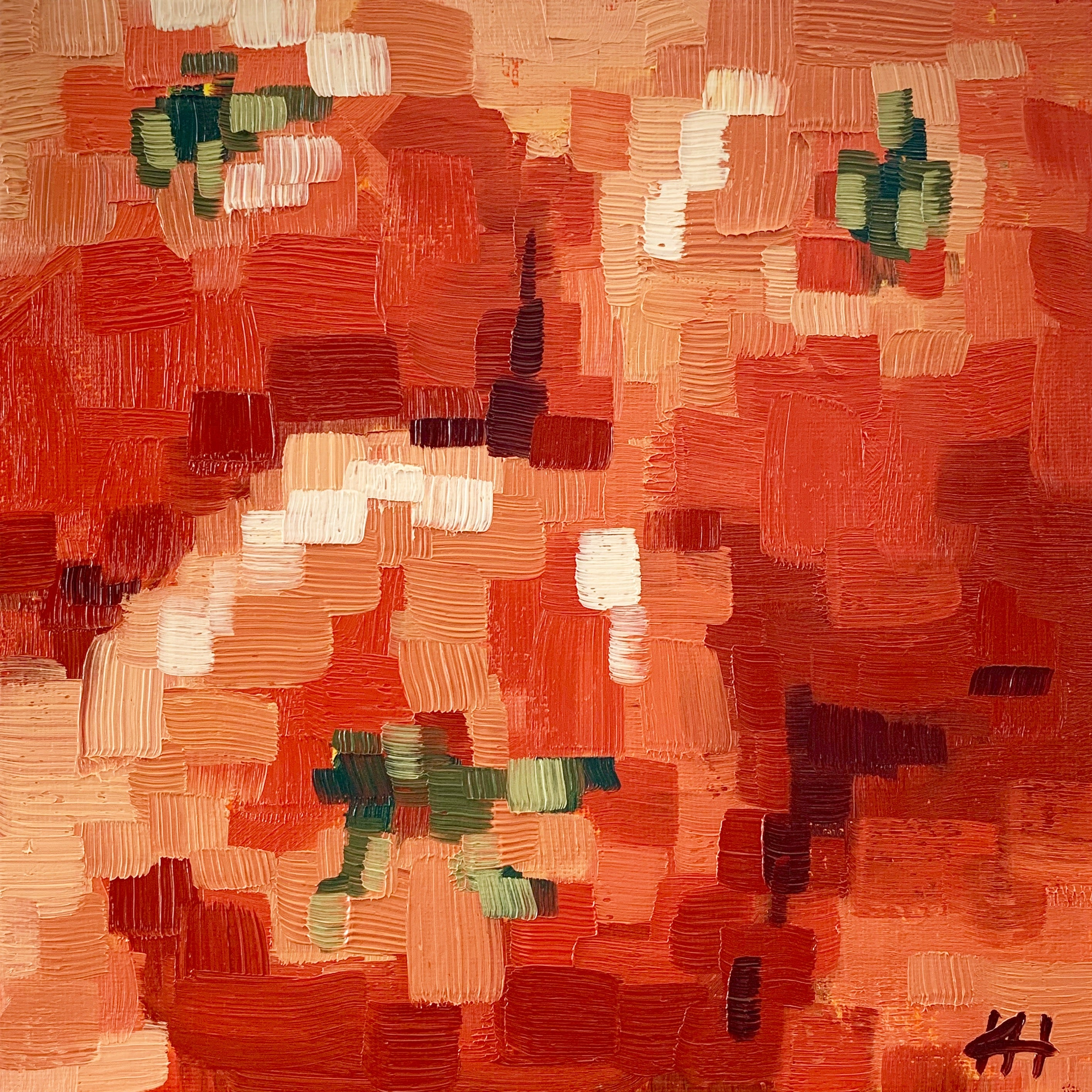"Vegetable Painting, Tomato Still Life in Oil, ""Pixelated Tomatoes"""