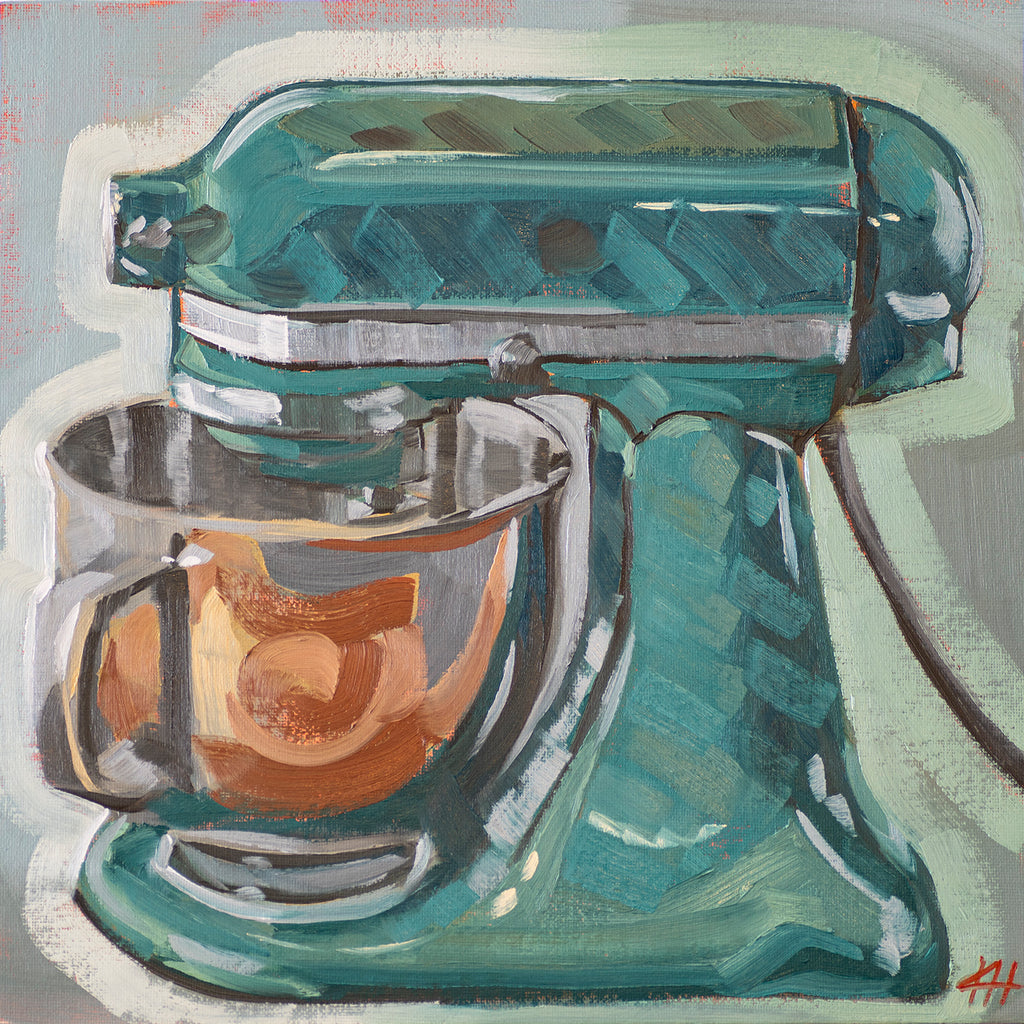 """Turbo Teal"", Kitchen Mixer Oil Painting"