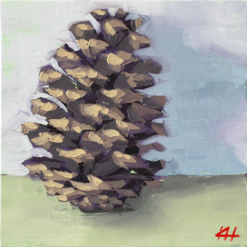 """Tipsy Pinecone"", Holiday Oil Painting"