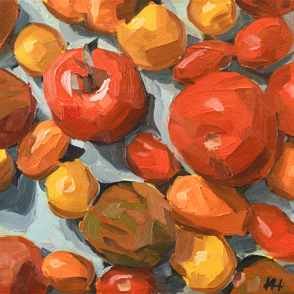"""Tomato Closeup"", Wall Decor, Still Life Oil Painting"