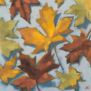 """Tumbling Fall"", Fall Leaves Oil Painting"
