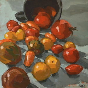 """Tumbling Tomatoes"", Impressionist Painting, Still Life Art"