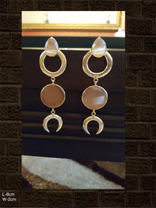 Beautiful beige stone long earrings