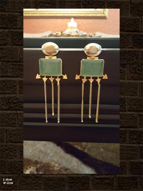 Beautiful aqua green stone earrings with long chains