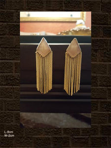 Beige stone long chain earrings
