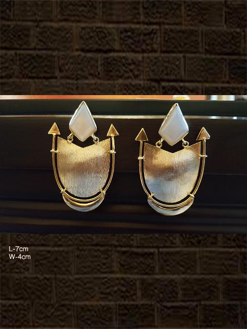 Modern white shield design earrings