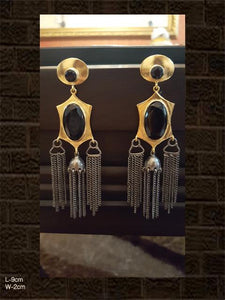 Stylish black stone earrings with gold and black polish