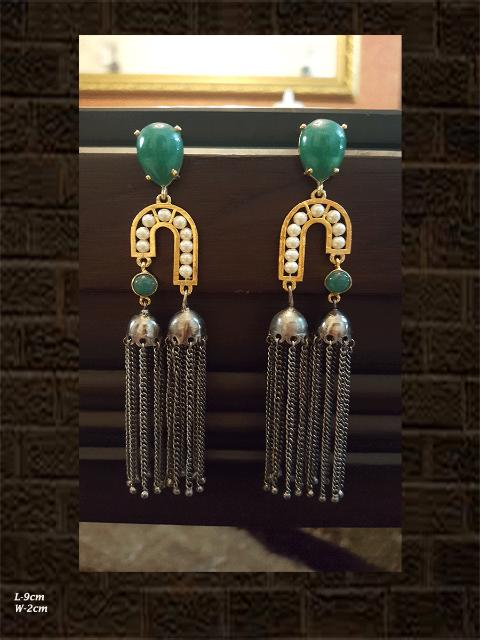 GREEN stone double jhoomki earring with tassel in black and gold polish