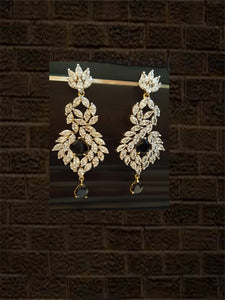 Long black stone Ad earrings