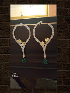 Stylish leaf shaped AD earring with emerald drop